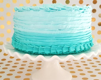 """Fake Cake Ombre Ruffle Fake Cake YOU CHOOSE COLOR Approx. 8.75""""w x 5.25""""h. Smash Cake Prop, First Birthday Photo Prop, Kitchen Decor"""