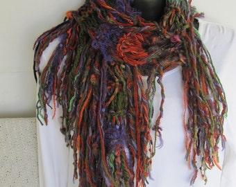 SUPER SALE Hand Knit Fringe Scarf Multi Color 14 Yarns Autumn Purple Green Orange Rust Soft Feathery Long Fantasy Boho Woodsy