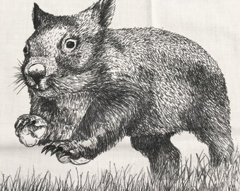 """Wild Wombats  fabric collection by Cindy Watkins """"On the run"""" Back & White original design"""