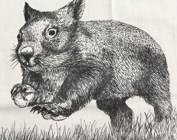 "Wild Wombats  fabric collection by Cindy Watkins ""On the run"" Back & White original design"
