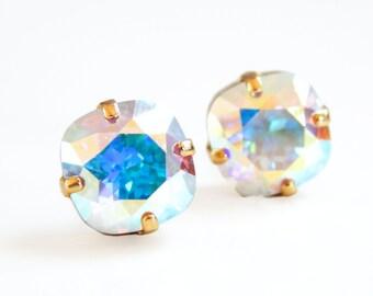 Ab crystal stud earrings - rainbow stud earrings - iridescent crystal earrings - square stud earrings - Swarovski crystal - crystal studs