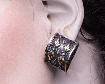 Antique Byzantine Earrings - 30s 18k & Sterling Clips