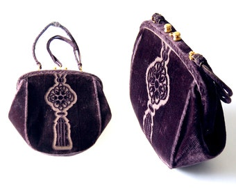 1950s Roberta Di Camerino Embossed Plush Plum Purple Velvet Purse