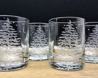 Fir Tree and Floating Flakes Votive Holder Engraved Glass Candle Holders Set of 12 Winter Holiday Home Decor Winter Wedding Favors