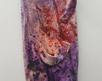 Ceramic Statement Necklace Bold Purple Red Texture Abstract