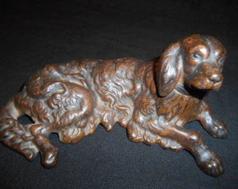 Vintage Cast Iron Retriever or Setter Reclining Dog Paperweight/ Figurine 2 PC,