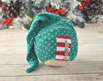 6 to 12 month stocking hat // Christmas hat // holiday photo prop // baby photography // baby hat // ready to ship // long hat tail