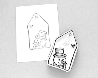 Snowman gift tag stamp