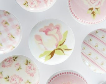 Pink Rose Knobs, Cream and Pink Floral Pulls, Flower Dresser Handles, Shabby Rose Knobs - 1 1/2 Inches