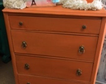 Orange Small Chest of Drawers