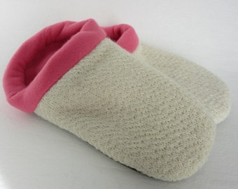 Soft White Sweater Slippers - Ladies Large 9-10