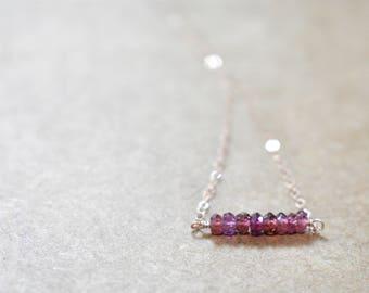 pink tundra sapphire bar pendant necklace. rose gold filled chain. pretty pink tundra sapphire bar necklace.  tundra sapphire jewelry