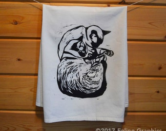 Sleepy Siamese Cats Printed Towel, Cat Tea Towel, Kitchen Towel, Cat Gift, Cat Lady Gift, Kitchen Decor, Home Essentials, Siamese Cat