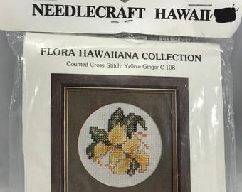 Vintage 1982 Needlecraft Hawaii YELLOW GINGER C-108 Counted Cross Stitch Kit
