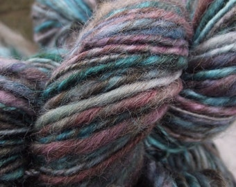 Handspun yarn, Hand dyed Single Ply Yarn, thick and thin worsted  BFL wool, multiple skeins available-Black Lotus