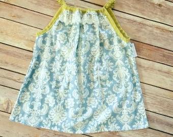 Blue Damask and lace tunic top, pale blue shirt, girls handmade tunic, mustard yellow shirt, toddler tunic