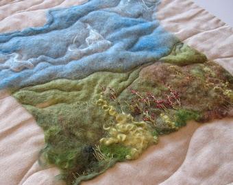 Felted Embroidered Landscape Art Quilt