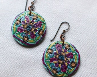 Purple Round Dangle Earrings no7