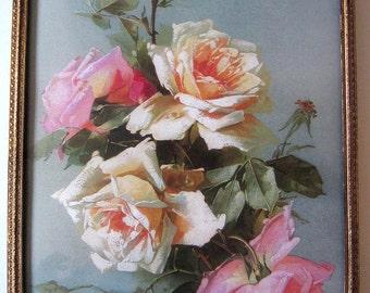 Catherine Klein Roses, Art Print , Convex Glass, Antique Frame, Half Yard Long