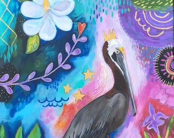 Intuitive Pelican Painting on Canvas