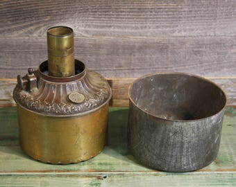 Antique KEROSENE OIL Lamp- Brass Font with Center Draft- Brass & Tin- Fluted Bottom- Made in US of America- K30