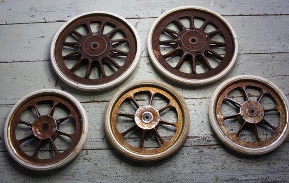 Vintage Baby Buggy Wheels Wagon Wheels Metal Spoke Carriage