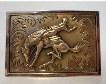 ON SALE Bucking Horse Belt Buckle Vintage Western Saddle Bronc Bronco Rodeo Ranch Cowboy