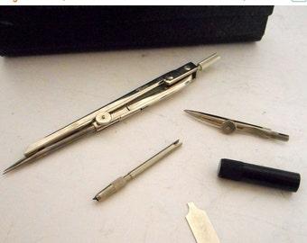 German Bear Brand Engineering Compass 105 Vintage Math Instrument Black Case