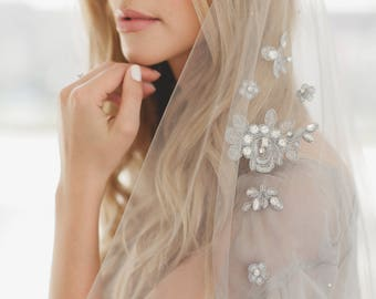 Gray Wedding Veil, Gray Beaded Lace Veil, Gray Bridal Veil, Crystal Lace Applique' Veil, Tulle Veil, Cathedral Veil 1716