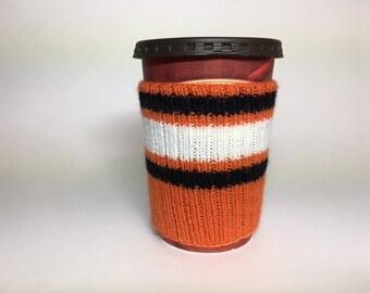 Philadelphia Flyers Hand Knit Coffee Cup Cozy Mug Sleeve