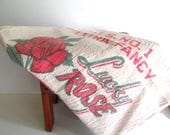 Large Vintage Muslin Rice Sack Bag Lucky Rose Rice Vintage Graphics Red Green Craft Supply
