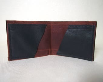 Black Leather and Dark Red Waxed Cotton Billfold Wallet