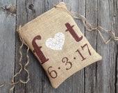 Dollar Dance Bag, Gift for Bride, Bridal Shower Gift, Monogram Bag, Wedding Date, Burlap Lace Wedding, Tote Bag, Personalized Wedding Bag