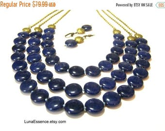 On Sale Lapis Lazuli Statement Necklace Bib Neckace Beaded Jewelry Triple Strand Necklace Gifts for Women
