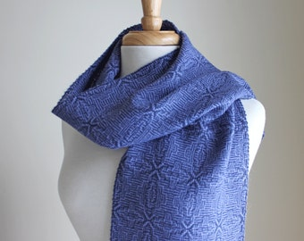 Periwinkle and navy handwoven shadow weave alpaca silk scarf