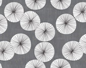 Mid Century Modern Fabric - Umbrellas Sunset Drizzle By Friztin - Blue White Grey Orange Retro Mod Home Decor Fabric With Spoonflower