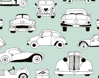 Mint Fabric - Vintage Classic Cars Scandinavian Retro Mint Fabric By Littlesmilemakers-  Retro Cotton fabric by the yard with Spoonflower