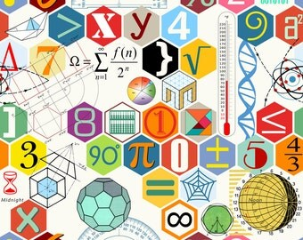 Science Fabric - Math In Color ( White ) By Chicca Besso - Science Nerd Cotton Fabric By The Yard With Spoonflower