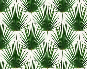 Palm Leaf Fabric - Simple Palm Leaf Geometry Green And Cream Small Print By Micklyn - Leaves Cotton Fabric By The Yard With Spoonflower