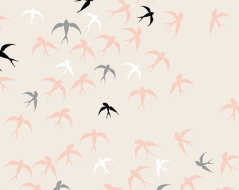 Swallow Fabric - Swallows On Ivory By Heleenvanbuul - Swallow Cotton Fabric By The Yard With Spoonflower