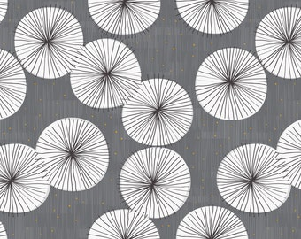 Mid Century Modern Fabric - Umbrellas Sunset Drizzle By Friztin - Blue White Grey Orange Retro Mod Home Decor Fabric With Spoonflower