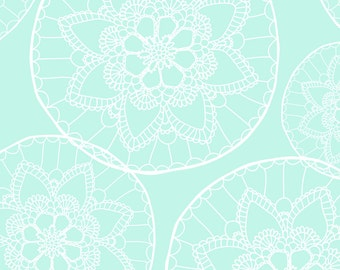 Doily Fabric - Mint Doily By Innamoreva - Mint and White Doily Home Decor Cotton Fabric By The Yard With Spoonflower