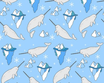 Narwhal Fabric - Narwhals And Icebergs By Natelledrawsstuff - Narwhals on Blue Cotton Fabric By The Yard With Spoonflower
