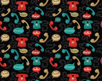 Retro Telephones Fabric- Telephones- Black By Mintgreensewingmachine- Vintage Phone Speech Bubble Cotton Fabric By The Yard With Spoonflower