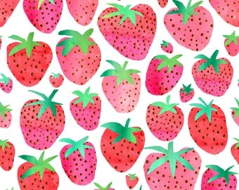 Summer Strawberries Fabric - Watercolour Strawberries By Emmaallardsmith - Watercolor Strawberry Cotton Fabric By The Yard With Spoonflower