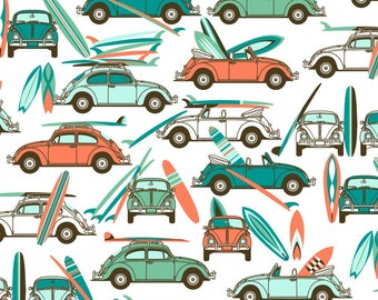Retro Surfing Fabric - Lets Go Surfing......Now! By Stitchyrichie - Retro Summer Beach Surfing Cotton Fabric By The Yard With Spoonflower