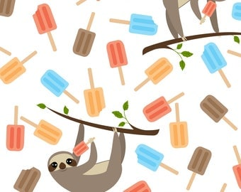 Summer Sloths with Popsicles Fabric - Summer Sloths By Viperprints - Summer Animal Nursery Decor Cotton Fabric By The Yard With Spoonflower