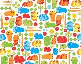 Classroom Pet Fabric - Guinea Pig Vegetable Patch By Ebygomm - Cute Guinea Pig Cavy Hamster Cotton Fabric By The Yard With Spoonflower