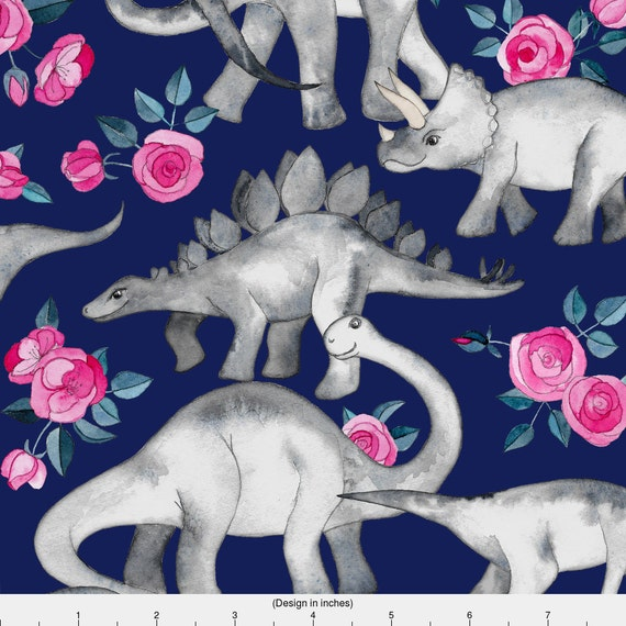 Floral watercolor dinosaur fabric dinosaurs and roses on for Purple dinosaur fabric