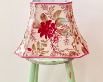 "Rectangle Bell Lamp Shade, French Floral Lampshade to Die For Vintage Fabric, Only one, Romantic Floral Shade, 7""t x 12""b x 9.5""high, Pretty"